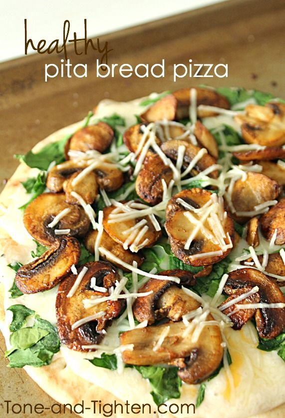 Healthy Pita Bread Pizza recipe on Tone-and-Tighten.com - the perfect healthy lunch or dinner!