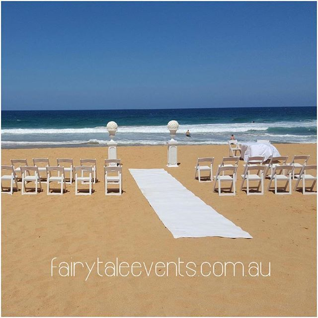A simple beach setup on a perfect summer day ❤️ #fairytaleevents #outdoorceremony #weddinghiresydney #ceremonyhire #sydneywedding