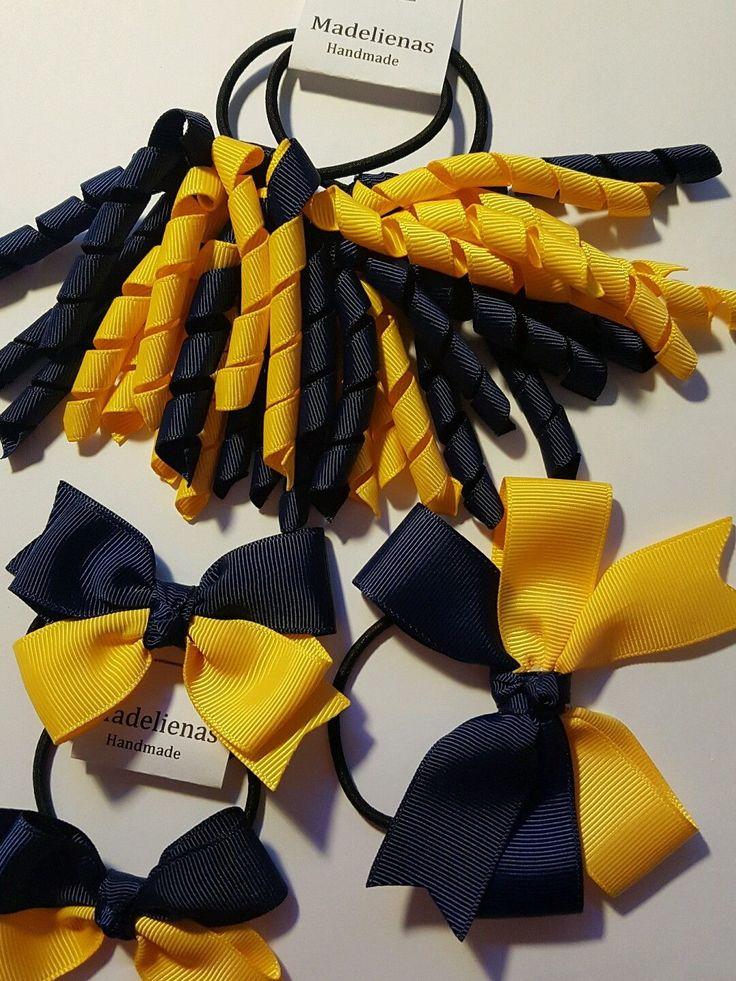 HANDMADE-GIRLS SCHOOL CURLY KORKER /BOWS PONYTAIL HAIR TIE - AU$14.00 a set