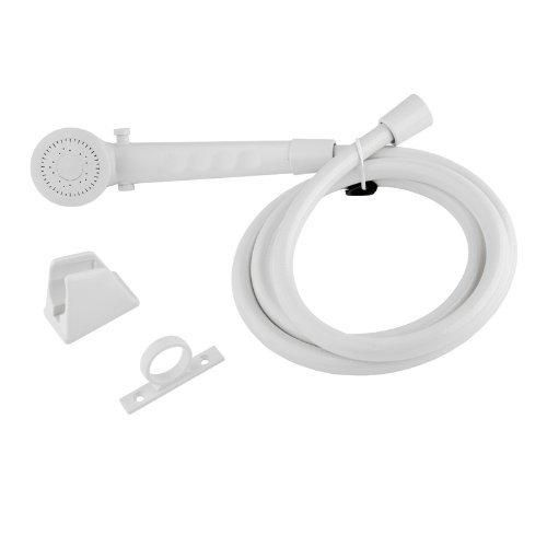 Dura Faucet (DF-SA130-WT) White RV Shower Head and Hose - RV Shower Faucet Replacement Head and Hose for Recreational Vehicles Trailers Motorhomes Campers 5th (Fifth) Wheels - Lifetime Warranty