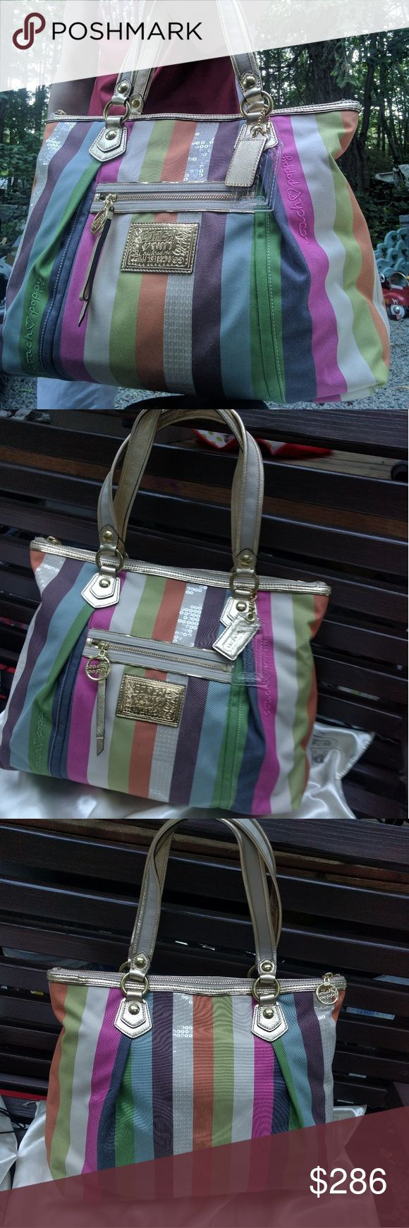 RARE COACH POPPY Legacy SEQUIN Stripe Glam Tote GORGEOUS Coach Poppy in flawless condition! Carried once, then stored in dustbag. Very large bag! Perfect for keeping essentials safe and easily accessible on the go; while, of course, being glamorous! Any questions? Please comment. Offers? Please use designated button. 😘 Coach Bags Totes