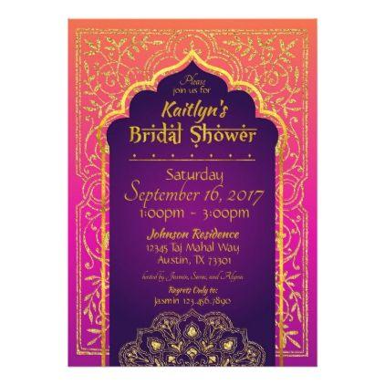 Bollywood Arabian Nights Bridal Shower Invitation - wedding shower gifts party ideas diy cyo personalize