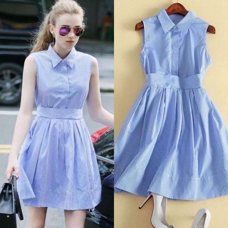 Đầm sơmi sọc xanh