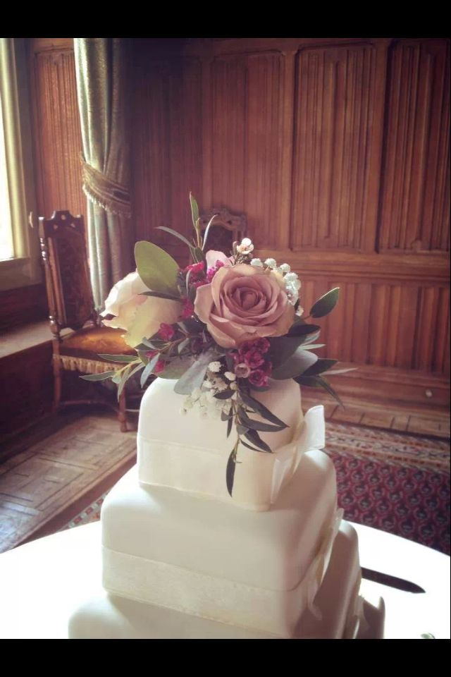 Four Tier Ivory Square Wedding Cake By Marks And Spencers Fresh Floral Topper