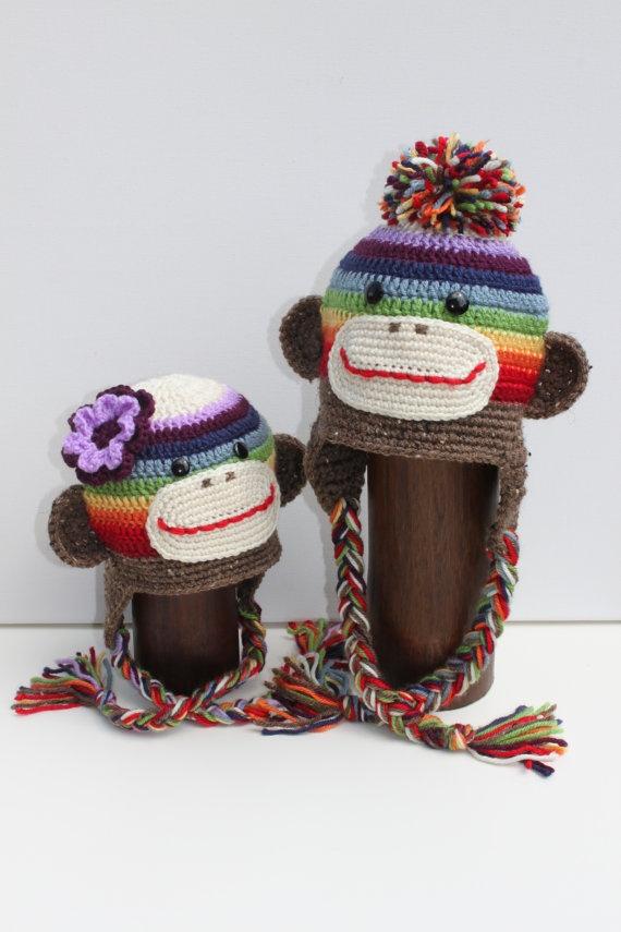 Crochet Rainbow Sock Monkey pom pom or flower ear by LenasBoutique, $26.00