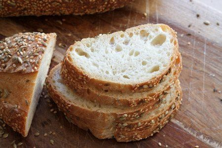 Soft Semolina Sourdough -  I used a mixture of equal parts sesame and fennel seeds for the coating. Don't do this unless you love the taste of fennel. Sesame seeds by themselves are nice without being quite so provocative.-
