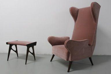 poltrona produzione italiana anni '50 nero design arezzo 4