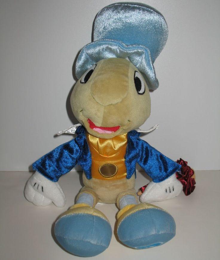 "Disney Store Pinnochio Jiminy Cricket Plush Toy Blue Hat Stuffed Animal 15.5"" #CK15"