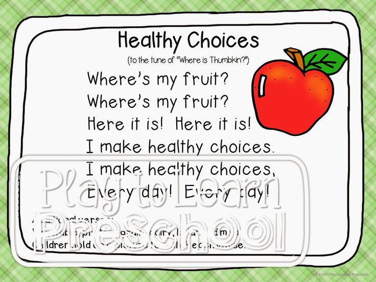 Nutrition Unit | Preschool food, Healthy choices ...