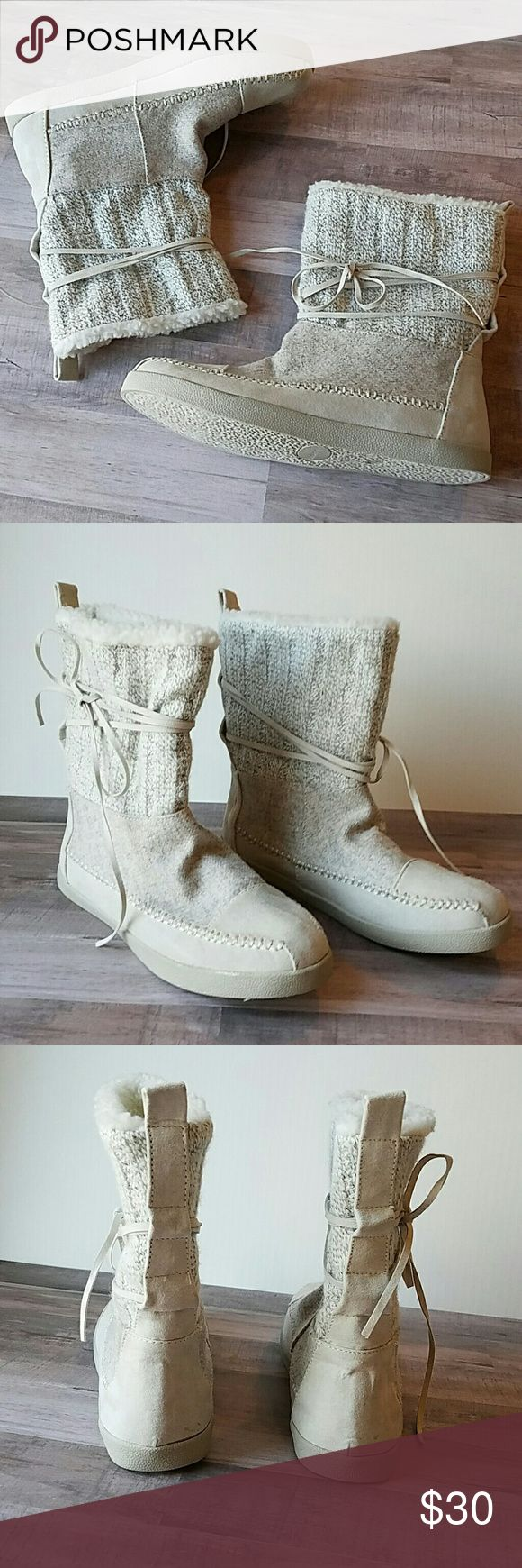 New Madden Girl white knit mukluk boots sz 6 Madden Girl white knit boots. Brand new without box.  - white/tannish winter boots - ties around ankle - knit top - white fleece lining - size 6 women's  I love offers! Please feel free to negotiate price through the offer button. Madden Girl Shoes Lace Up Boots