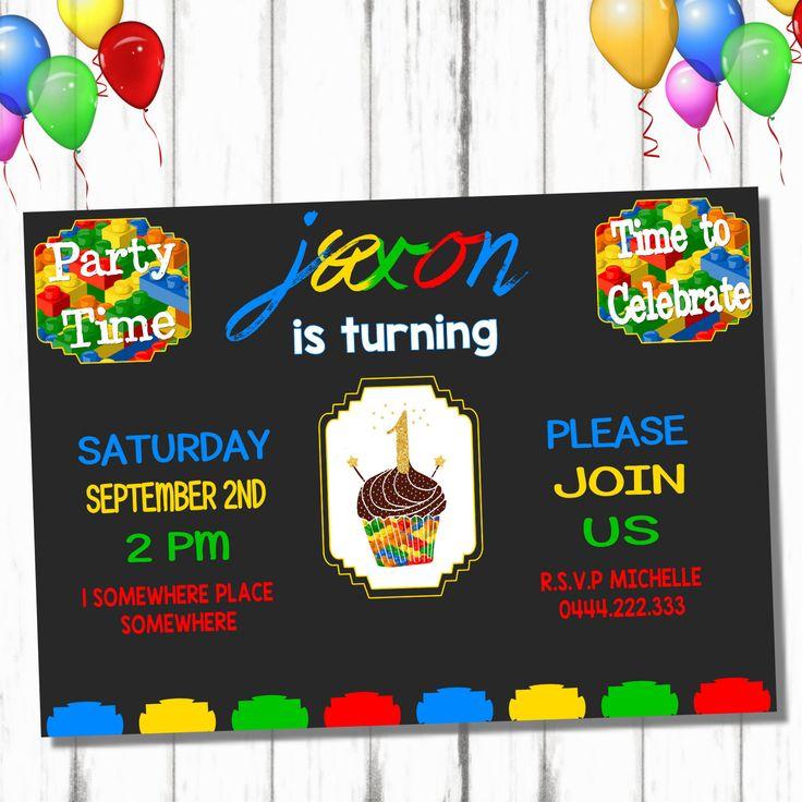 Lego Bricks Birthday Invite, Lego Birthday Invitations, Lego Printable Party, Lego Invitation, Printable Lego Birthday, Bricks Birthday by KangarooKidsDesigns on Etsy