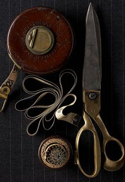 gold handled sissors, tape measure, straight pins