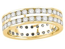 18ct Yellow Gold Ladies 2-Row Channel Set Full Eternity Ring Set with 1.50ct of Diamonds