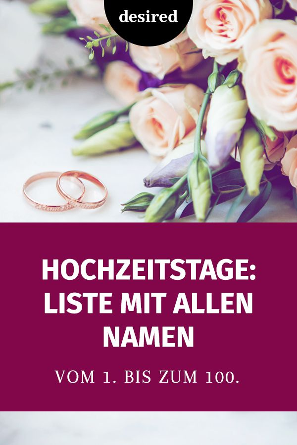 Namen hochzeitsjahre Hochzeitstage Namen