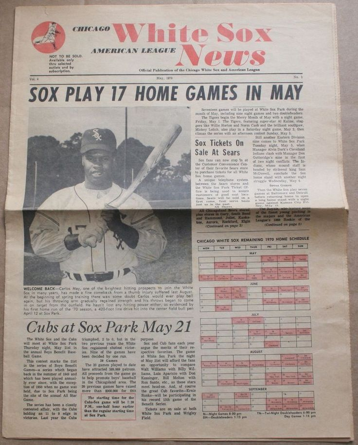 1970 Chicago White Sox News Fan Newspaper Carlos May Walt Williams Luke Appling