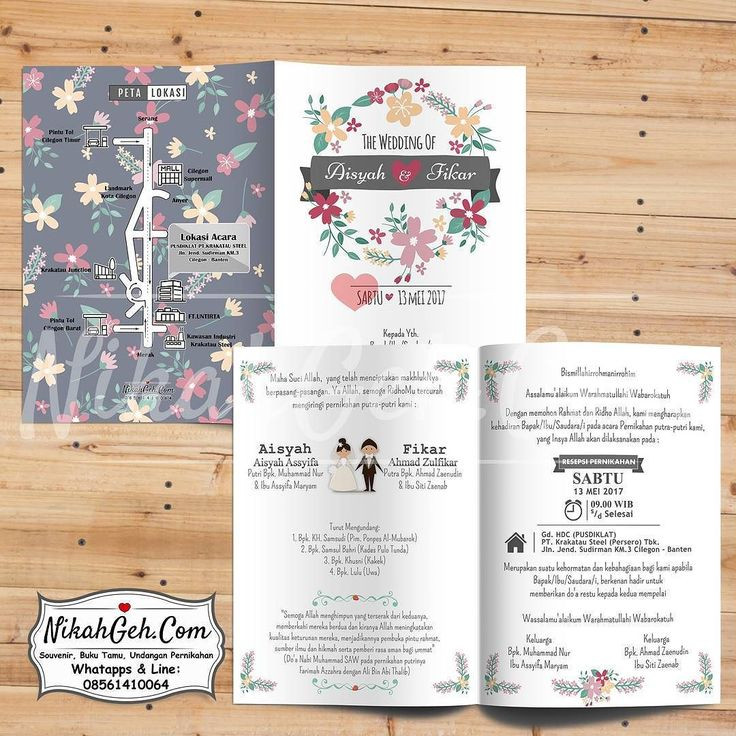 https://nikahgeh.com - Undangan pernikahan  Soft cover Full Colour Laminasi/Dof bolak-balik Kertas paling tebal art carton 310gr Bebas tambah foto Custom (bisa desain sendiri mix desain) Free e-invitation tag souvenir label nama dan plastik  Tanya-tanya atau info lebih lanjut hubungi :  WA : 08561410064 Line : nikahgeh  #weddingserang#undanganserang #invitationserang#kotaserang#undangancilegon #undanganpandeglang#undanganmurah #undanganpernikahan#undanganonline…
