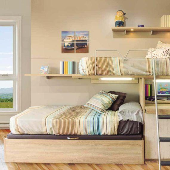 Encuentra tus camas nido y tren en FacilMobel. La habitación ideal para tu niño: con cajones, blancas, en L, compactas... ¡muebles juveniles para todos!