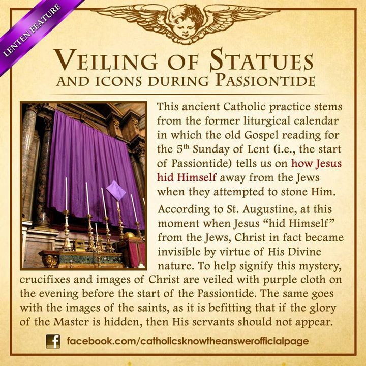 Why do Catholics veil the images and icons during Holy Week?