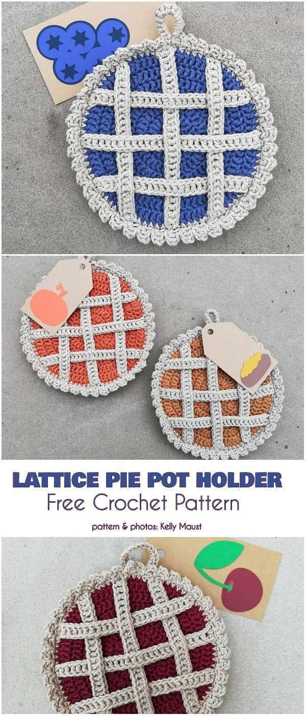 Lattice Pie Pot Holder Free Crochet Pattern Crochet Hot Pads
