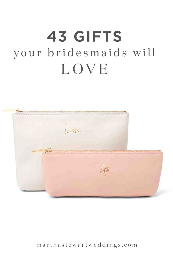 "43 Gifts Your Bridesmaids Will Love | Martha Stewart Weddings - They've helped you plan, watched you try on your gown, picked out flowers, and DIY'd décor for your reception. Now it's time to give back. For bridal parties and budgets both large and small, we gathered suggestions for presents that will have your girls gushing—even before you say, ""I do."""