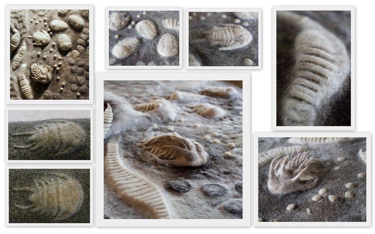 L'année dernière (2014) j'ai fait quelques recherches techniques sur la création des fossiles avec le feutre. Voici vous trouverez un petit aperçu de quelques résultats: