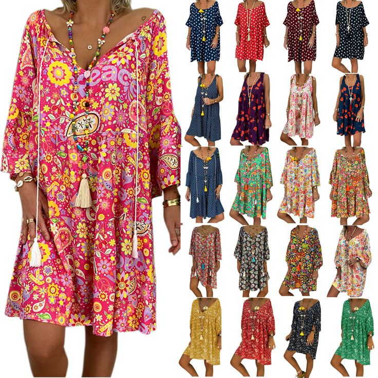 Women's Tunic Dress Kaftan Baggy Beach Boho Oversize Vintage Longtops Mini Dress  – Rotes Kleid
