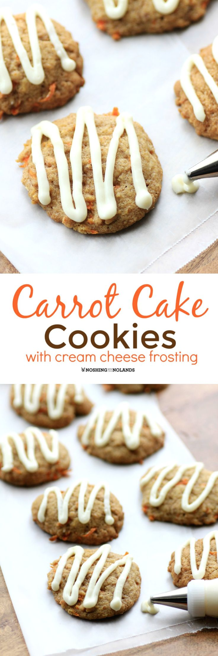 Carrot Cake Cookies by Noshing With The Nolands are scrumptiously soft and moist. Topped with cream cheese icing they taste just like the cake! #SundaySupper