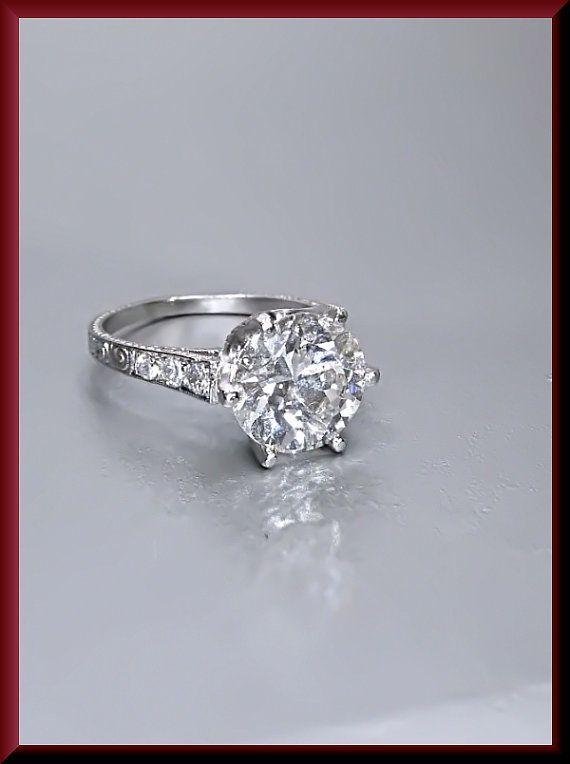 Antique Vintage Art Deco 1920'S Platinum Old European Cut 2.55 ct Diamond Engagement Ring Wedding Ring