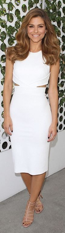 Who made Maria Menounos' white cut out dress and nude sandals?