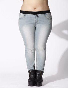 2015 Funky Large Size Women Elastic Waist Pants Slim Leggings Trousers Women's Boyfriend Jeans Autumn&winter Style 13-5098