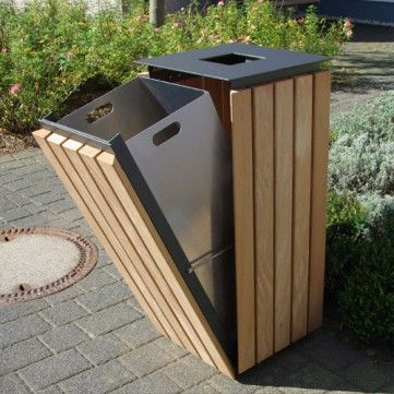 Urbanis Quadrat Timber Litter Bin. A square litter bin manufactured from steel and clad in treated timber slats. Available with either a 50L or 75L capacity. 50L: Height: 710mm, Width: 440mm. 75L: Height:1000mm, Width:440mm.