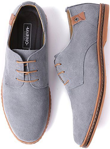 d87c58ceee0063 Marino Suede Oxford Dress Shoes for Men – Business Casual Shoes – Light  Gray- 12 D(M) US