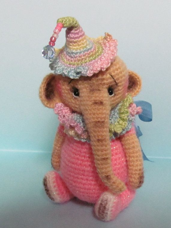 Miniature Thread Artist Crochet Teddy Bear/ Elephant by BayouBears, $7.50