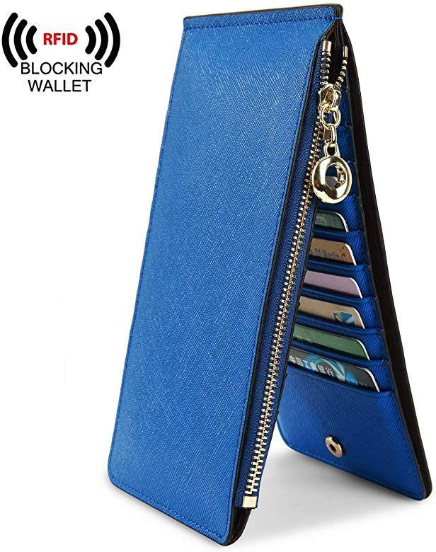 445edb420f3a Amazon.com: YALUXE Leather Wallet for Women Women's RFID Blocking ...