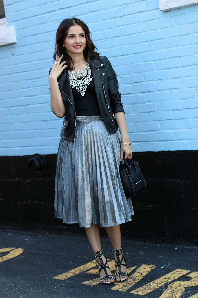 Moto Jacket, Silver Pleated Midi Skirt, Celine Nano Bag, Zara studded heels