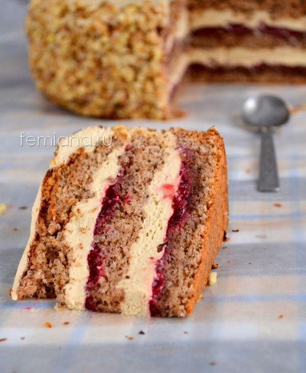 Вкуснейший кофейно-ореховый торт с джемом из красной смородины