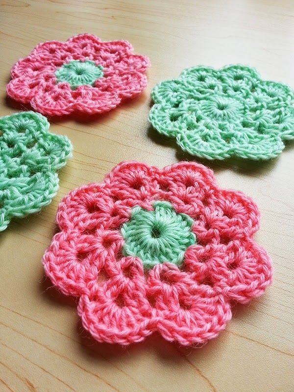 Hand dyed crochet coasters in 100% British Wool