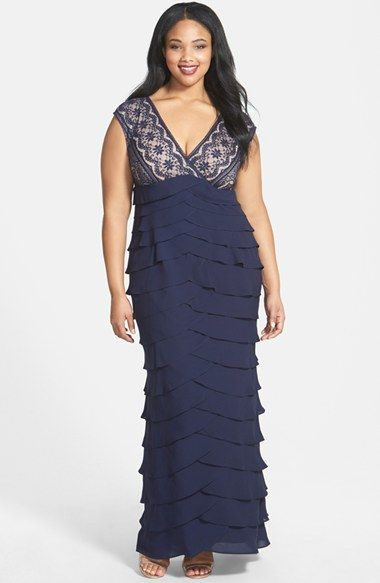 Free shipping and returns on Adrianna Papell Lace Bodice Shutter Pleat Gown (Plus Size) at Nordstrom.com. Curved tiers of fluid matte jersey overlap to form the flattering, floor-length skirt of a fitted gown with a dramatic lace bodice and a deep surplice neckline.
