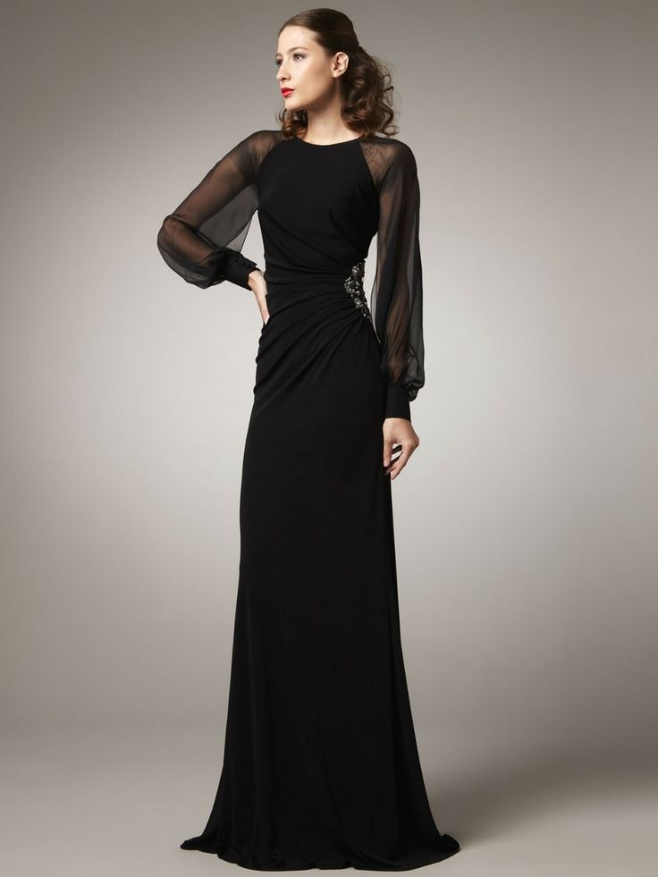 Custom Made 2014 New Arrival Sheath Long Sleeve Chiffon Beading Sexy  Long Evening Dresses/Gowns Vestidos Formales PR5