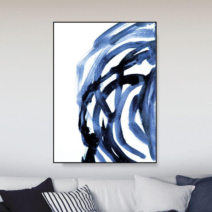 Printable abstract large art prints brush prints simple prints navy blue painting a0 art minimalist art brush stroke print dan hobday