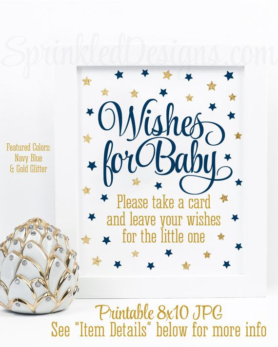 Wishes For Baby Boy   Twinkle Twinkle Little Star Baby Shower Printable  Sign   Navy Blue