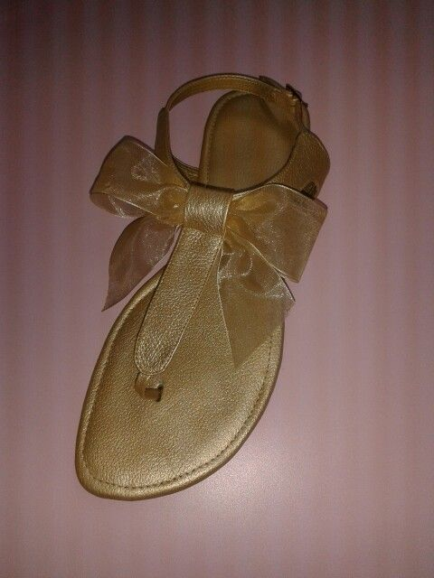 Sandalias Planas en cuero pigmentado Dorado ♥