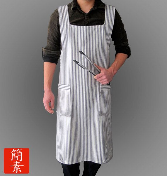 """Japanese Apron """"No Ties"""" - Mens Blue Striped - $35  http://www.etsy.com/listing/95613994/mens-japanese-no-ties-apron-blue-striped?ref=v1_other_1"""