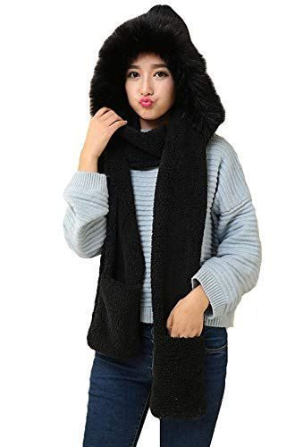 Animal Hat Scarf Mittens Faux Fur Hat Hood Winter Faux fur hat with gloves  scarfs 7b2c566c725