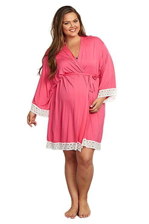 6573806bfbe20 Maternity / Nursing Plus Size Women Lace Trim Dressing Robe #ad  #plussizematernity #plussize