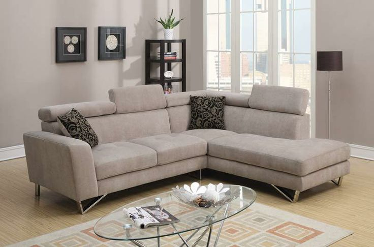 Modern Small Taupe Soft Fabric Sectional Sofa Couch Chaise