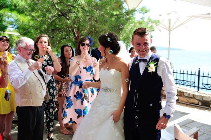 Bubble 'confetti' Skiathos, Greece wedding