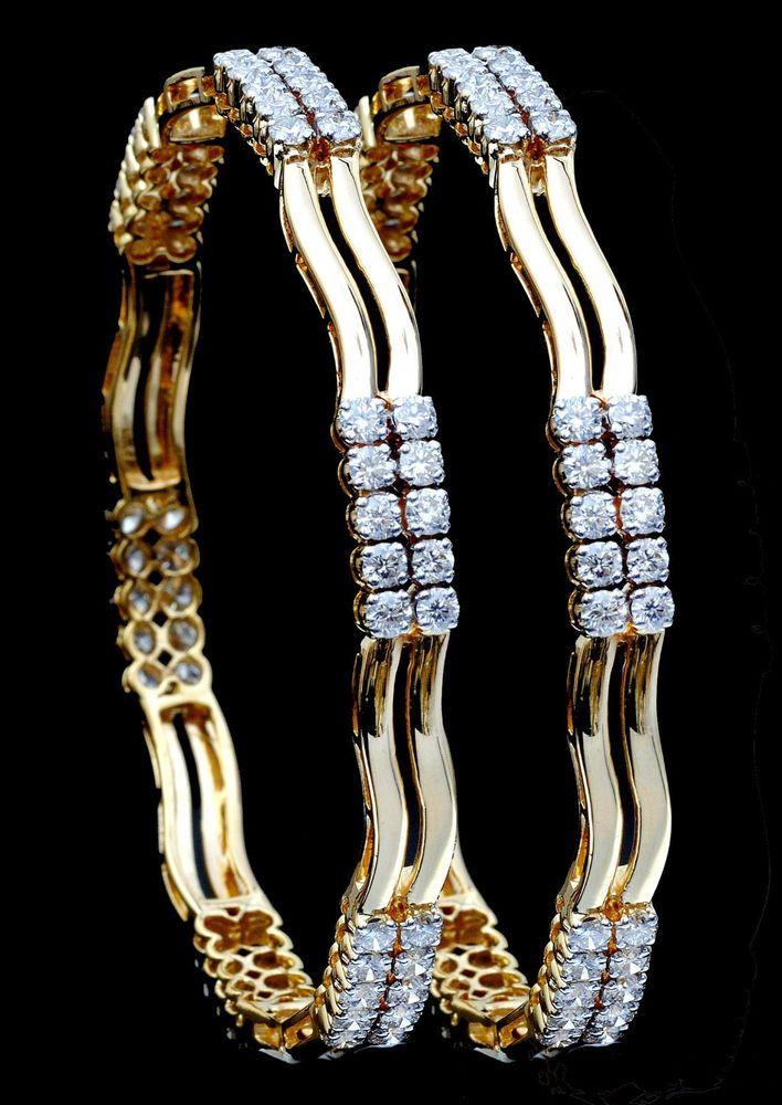 Fine Daily / Party Wear Bangles in 18K Yellow Gold With Natural White Diamonds #SitaramHanumandas #Bangle