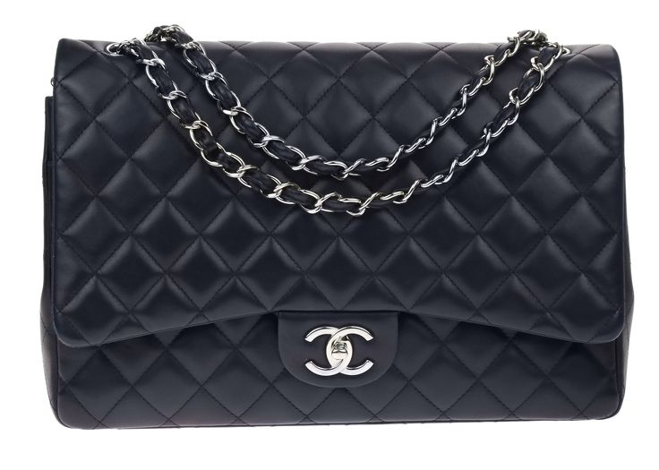 Chanel Navy Lambskin Leather Maxi Double Flap Bag