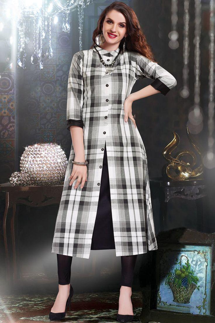 White Cotton Printed Designer Kurti-WKR1155 - Buy Online #samyakk #kurti #cotton #printed #checks #desginer # gown #newtrend #white
